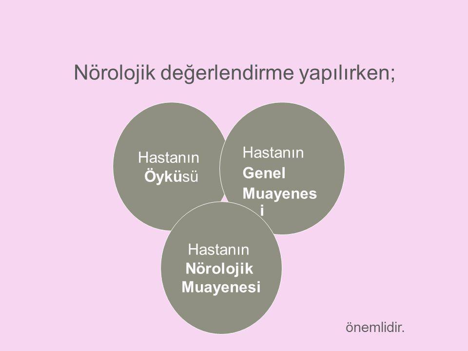 Nörolojik değerlendirme yapılırken; Hastanın Öyküsü Hastanın Genel Muayenes i Hastanın Nörolojik Muayenesi önemlidir.