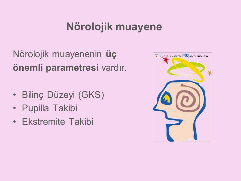 Nörolojik muayene Nörolojik muayenenin üç önemli parametresi vardır. •Bilinç Düzeyi (GKS) •Pupilla Takibi •Ekstremite Takibi