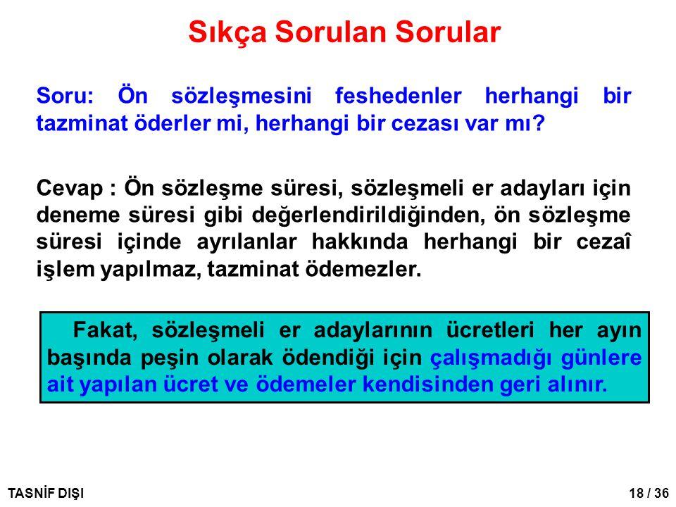 18 / 36TASNİF DIŞI Sıkça Sorulan Sorular Soru: Ön sözleşmesini feshedenler herhangi bir tazminat öderler mi, herhangi bir cezası var mı? Cevap: Ön söz