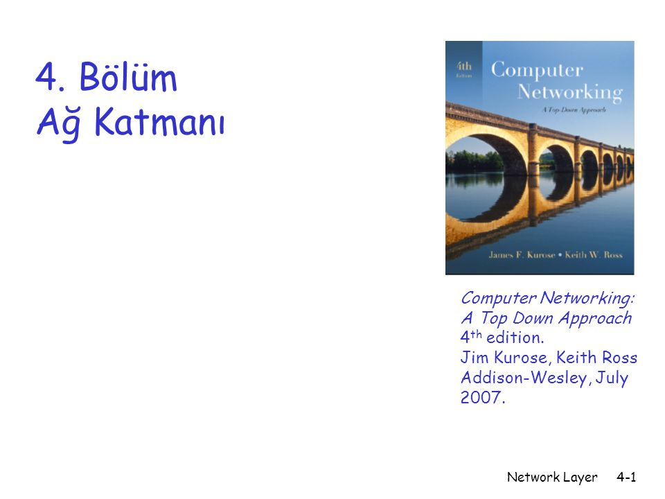 Network Layer4-1 4. Bölüm Ağ Katmanı Computer Networking: A Top Down Approach 4 th edition.