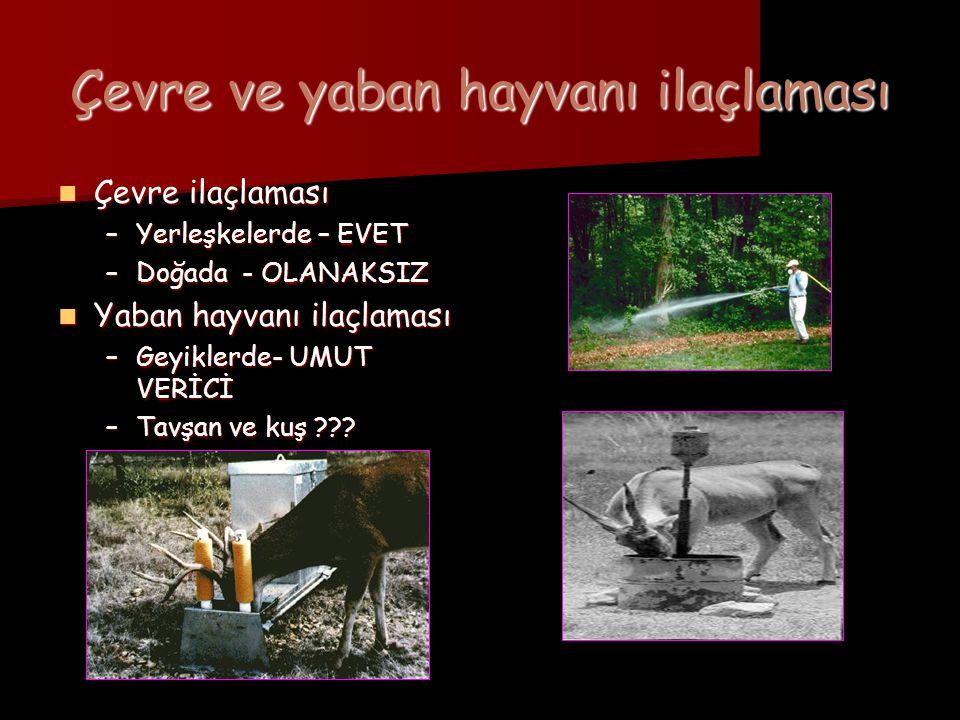 Çevre ve yaban hayvanı ilaçlaması  Çevre ilaçlaması –Yerleşkelerde – EVET –Doğada - OLANAKSIZ  Yaban hayvanı ilaçlaması –Geyiklerde- UMUT VERİCİ –Ta