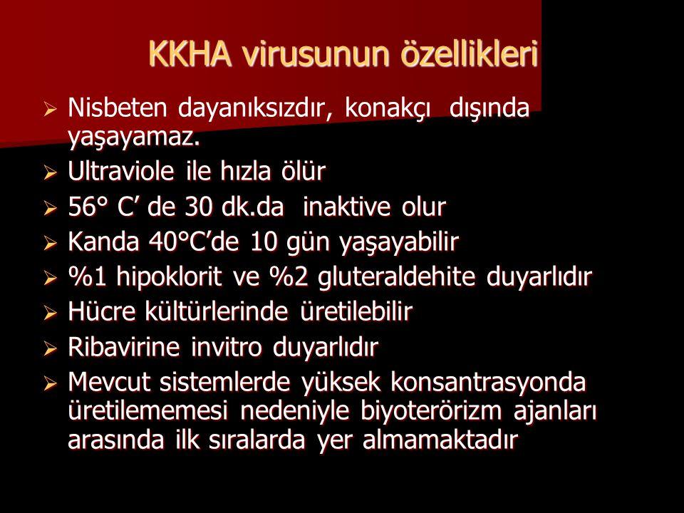 KKHA virusunun özellikleri  Nisbeten dayanıksızdır, konakçı dışında yaşayamaz.  Ultraviole ile hızla ölür  56° C' de 30 dk.da inaktive olur  Kanda