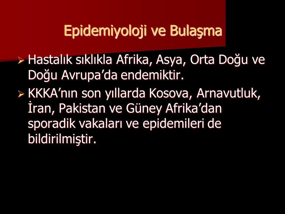  Hastalık sıklıkla Afrika, Asya, Orta Doğu ve Doğu Avrupa'da endemiktir.  KKKA'nın son yıllarda Kosova, Arnavutluk, İran, Pakistan ve Güney Afrika'd