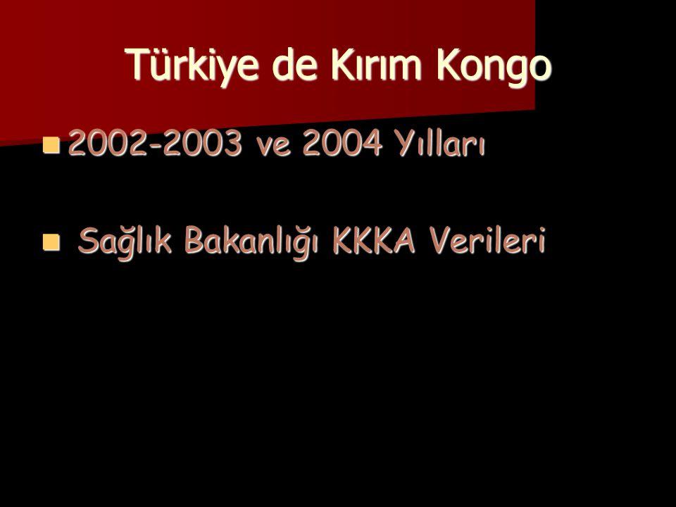 Türkiye de Kırım Kongo  2002-2003 ve 2004 Yılları  Sağlık Bakanlığı KKKA Verileri
