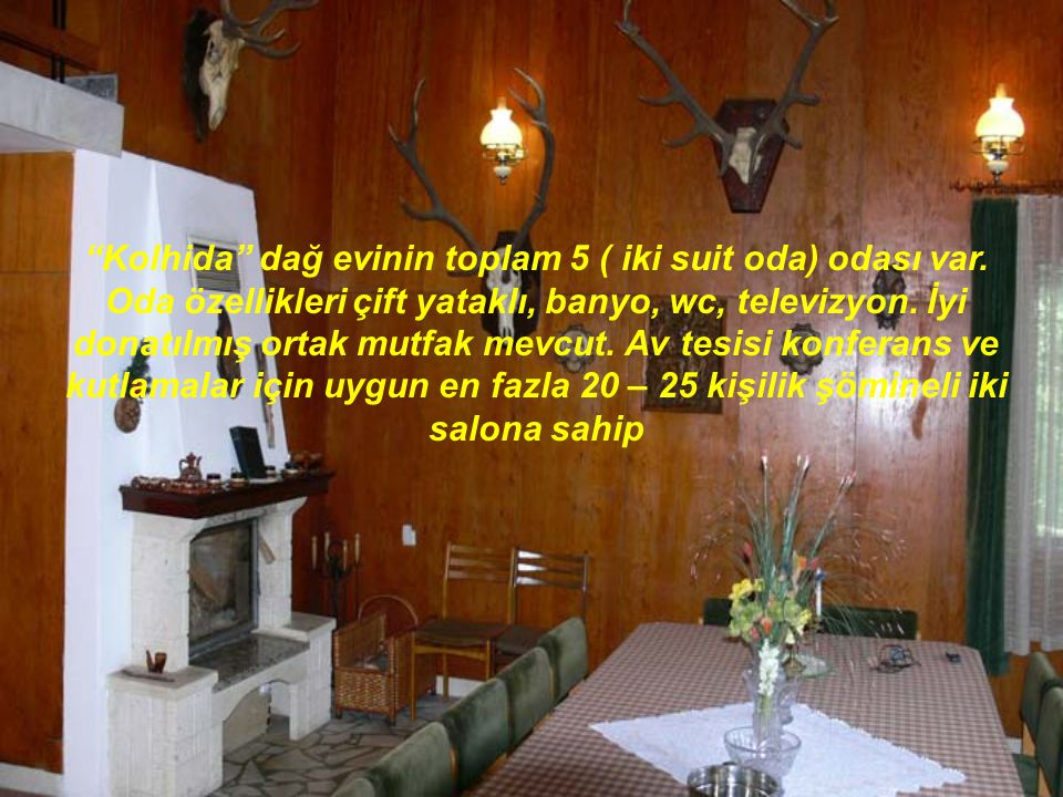 """""""Kolhida"""" dağ evinin toplam 5 ( iki suit oda) odası var. Oda özellikleri çift yataklı, banyo, wc, televizyon. İyi donatılmış ortak mutfak mevcut. Av t"""