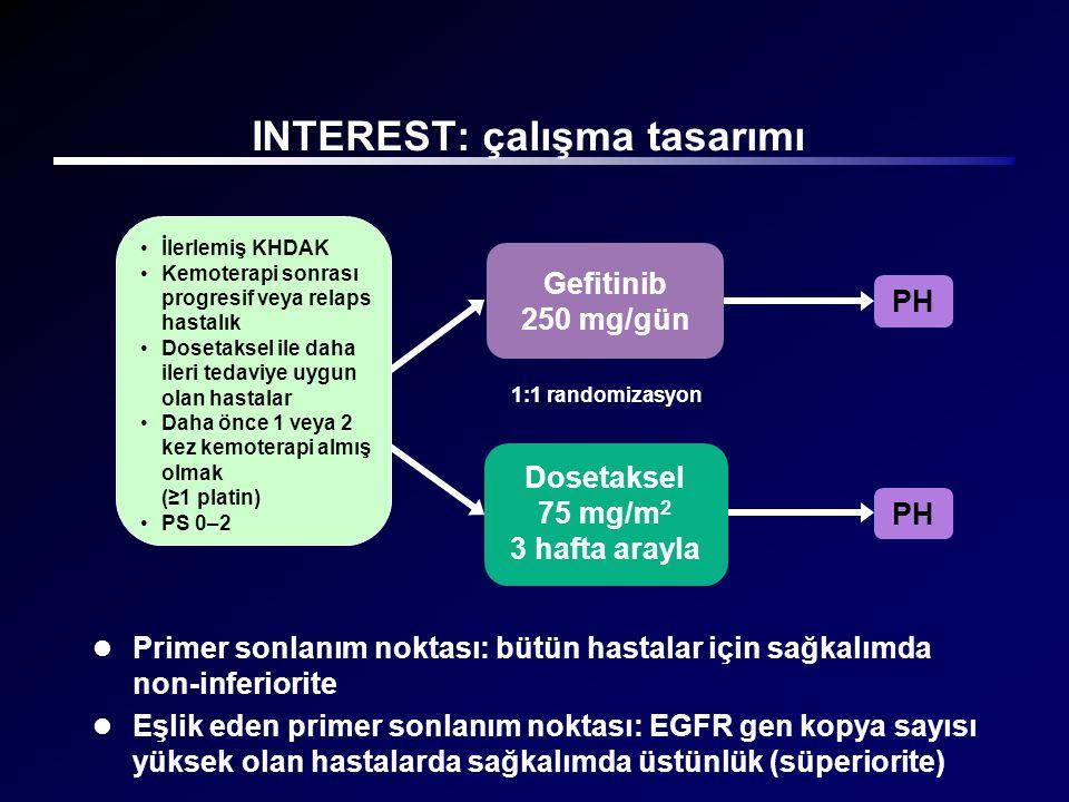  Primer sonlanım noktası: bütün hastalar için sağkalımda non-inferiorite  Eşlik eden primer sonlanım noktası: EGFR gen kopya sayısı yüksek olan hast