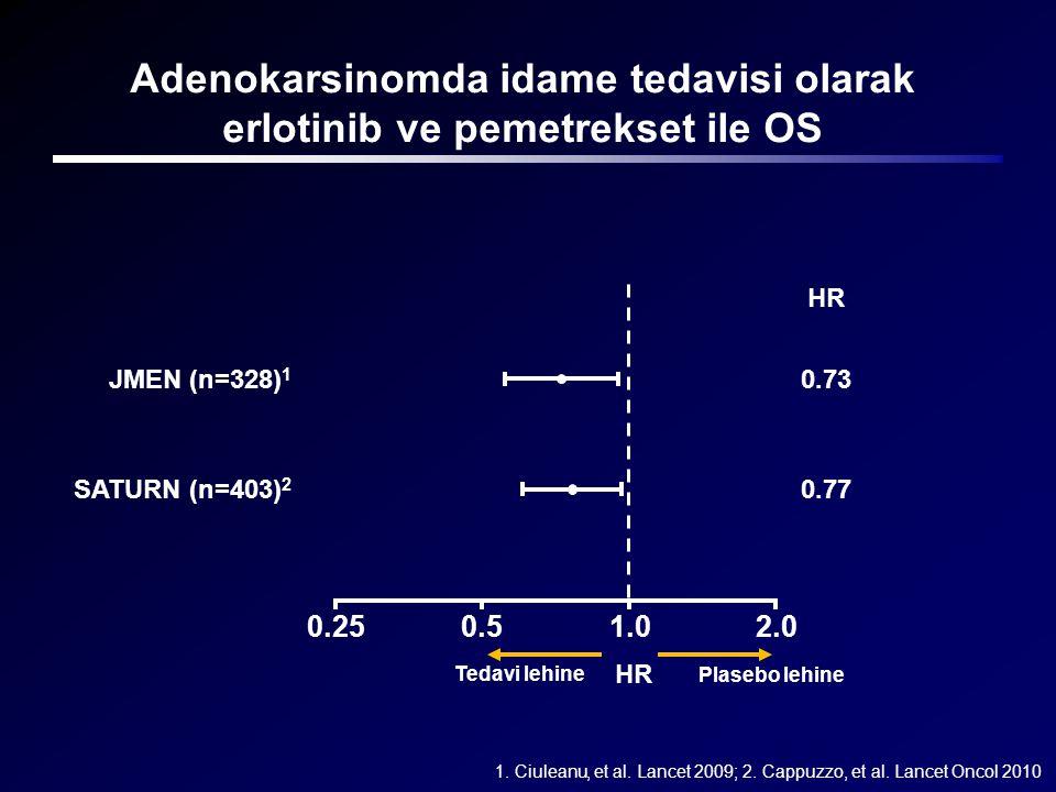 Adenokarsinomda idame tedavisi olarak erlotinib ve pemetrekset ile OS 1.0 SATURN (n=403) 2 JMEN (n=328) 1 0.50.252.0 Tedavi lehine Plasebo lehine HR 0