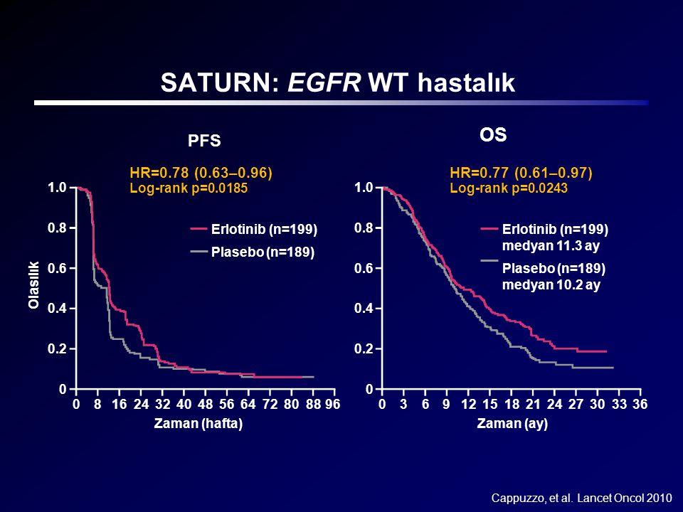 Cappuzzo, et al. Lancet Oncol 2010 PFS Zaman (hafta) 081624324048566472808896 Erlotinib (n=199) Plasebo (n=189) Log-rank p=0.0185 HR=0.78 (0.63–0.96)