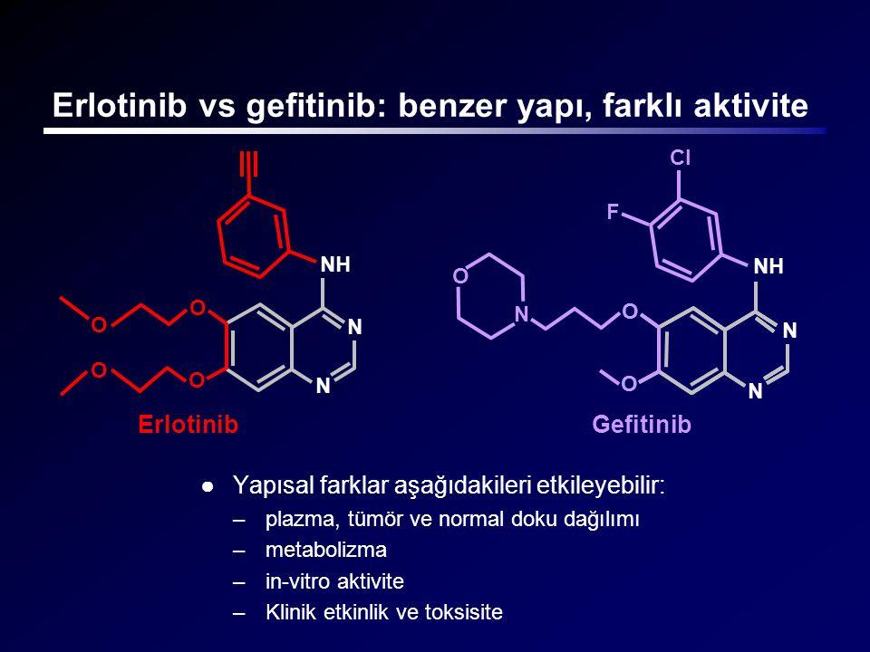 Erlotinib vs gefitinib: benzer yapı, farklı aktivite ●Yapısal farklar aşağıdakileri etkileyebilir: –plazma, tümör ve normal doku dağılımı –metabolizma