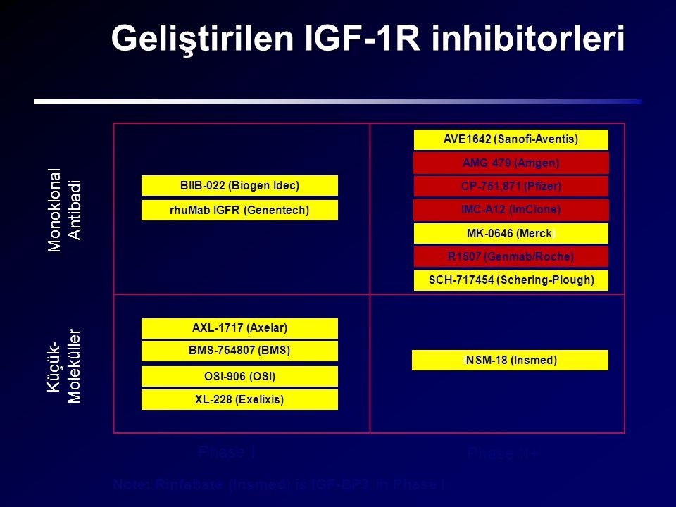 Geliştirilen IGF-1R inhibitorleri Phase I Phase II+ Monoklonal Antibadi Küçük- Moleküller AMG 479 (Amgen) R1507 (Genmab/Roche) IMC-A12 (ImClone) MK-06