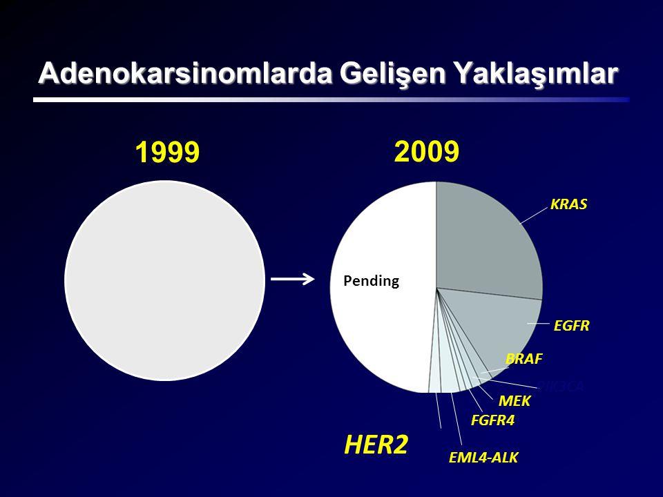 Adenokarsinomlarda Gelişen Yaklaşımlar KRAS 1999 Pending EGFR BRAF PIK3CA EML4-ALK FGFR4 HER2 2009 MEK
