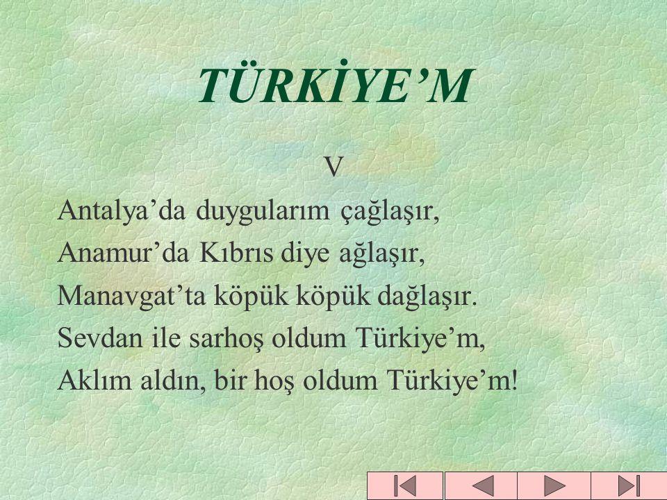 TÜRKİYE'M IV Selimiye, Dolmabahçe, Hisarlar, Bu ülkeye Türk mührünü basarlar, Kal'aların destan destan susarlar. Sevdan ile sarhoş oldum Türkiye'm, Ak