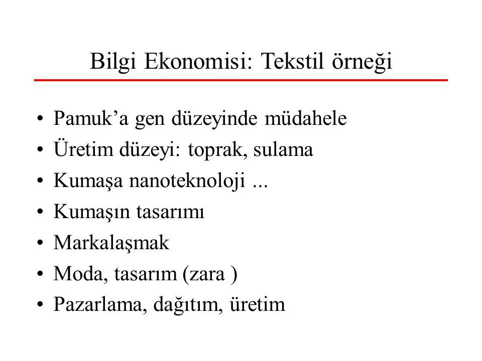 Bilgi Ekonomisi: Tekstil örneği •Pamuk'a gen düzeyinde müdahele •Üretim düzeyi: toprak, sulama •Kumaşa nanoteknoloji...