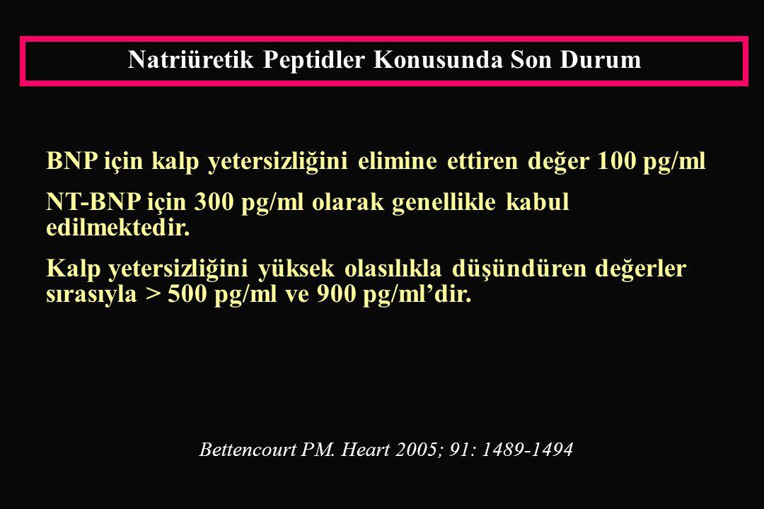 Natriüretik Peptidler Konusunda Son Durum BNP için kalp yetersizliğini elimine ettiren değer 100 pg/ml NT-BNP için 300 pg/ml olarak genellikle kabul edilmektedir.