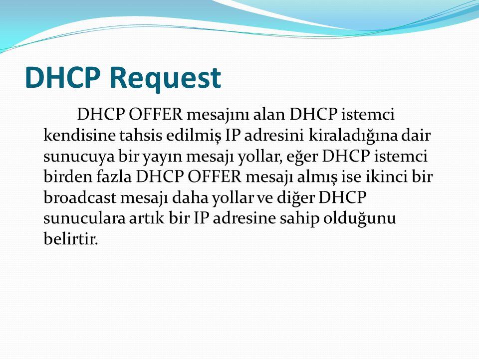 DHCP Request DHCP OFFER mesajını alan DHCP istemci kendisine tahsis edilmiş IP adresini kiraladığına dair sunucuya bir yayın mesajı yollar, eğer DHCP
