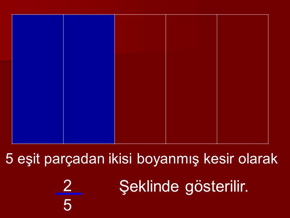 3 adet 4 eşit parça var. Birinci ve ikinci eşit parçaların tamamı boyanmış, üçüncünün eşit parçalarının 1 tanesi boyanmış. 2 Bütün 1414 9 4 4444 += 44