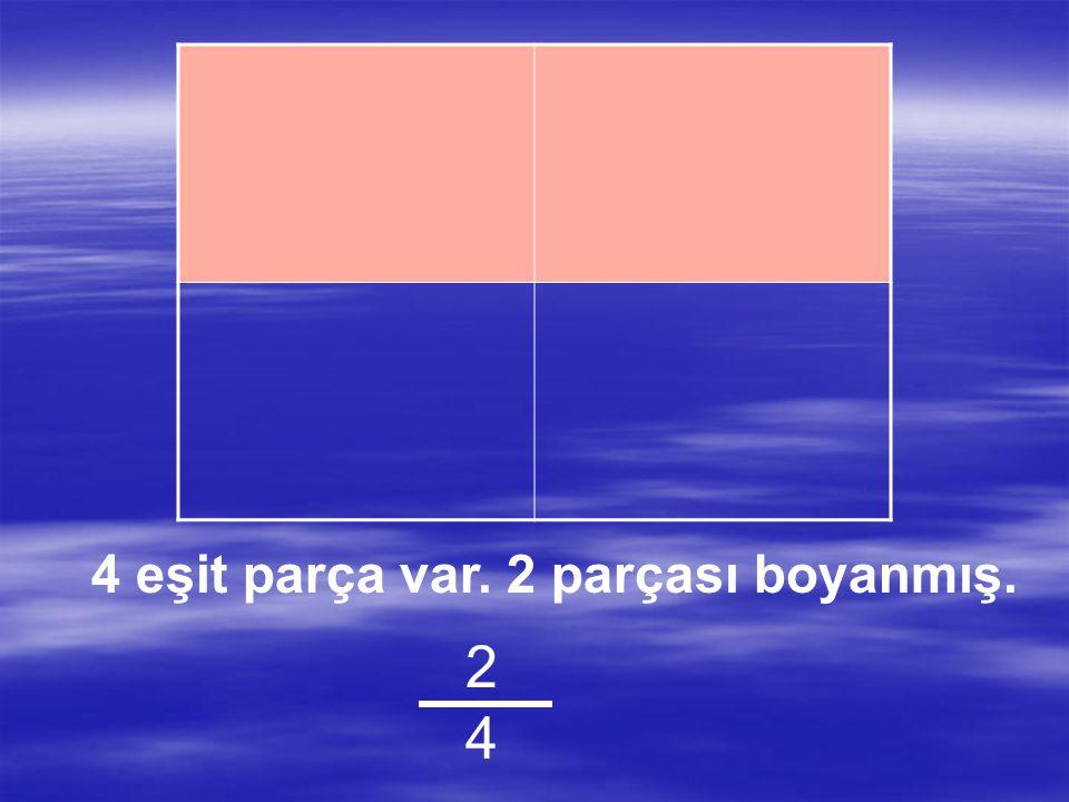 4 eşit parça var. 1 parçası boyanmış 1414