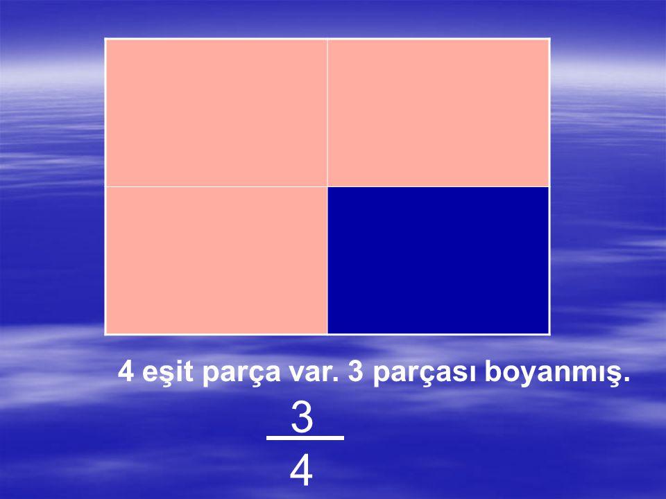 4 eşit parça var. 2 parçası boyanmış. 2424