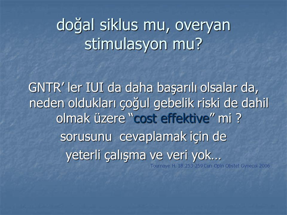 """doğal siklus mu, overyan stimulasyon mu? GNTR' ler IUI da daha başarılı olsalar da, neden oldukları çoğul gebelik riski de dahil olmak üzere """"cost eff"""