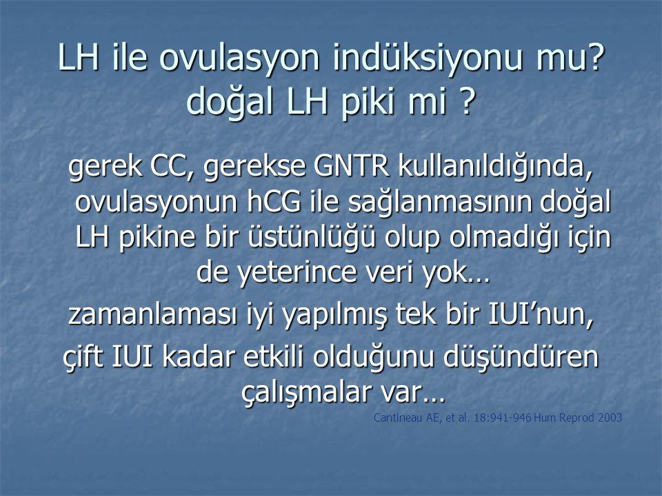 LH ile ovulasyon indüksiyonu mu? doğal LH piki mi ? gerek CC, gerekse GNTR kullanıldığında, ovulasyonun hCG ile sağlanmasının doğal LH pikine bir üstü