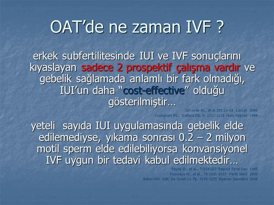 OAT'de ne zaman IVF ? erkek subfertilitesinde IUI ve IVF sonuçlarını kıyaslayan sadece 2 prospektif çalışma vardır ve gebelik sağlamada anlamlı bir fa
