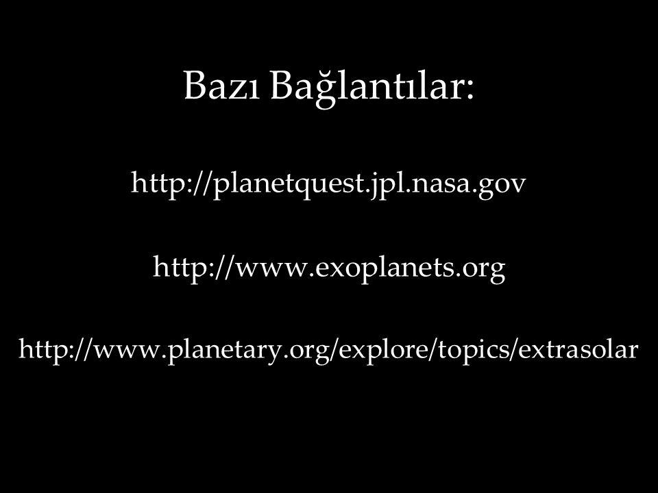 Bazı Bağlantılar: http://planetquest.jpl.nasa.gov http://www.exoplanets.org http://www.planetary.org/explore/topics/extrasolar