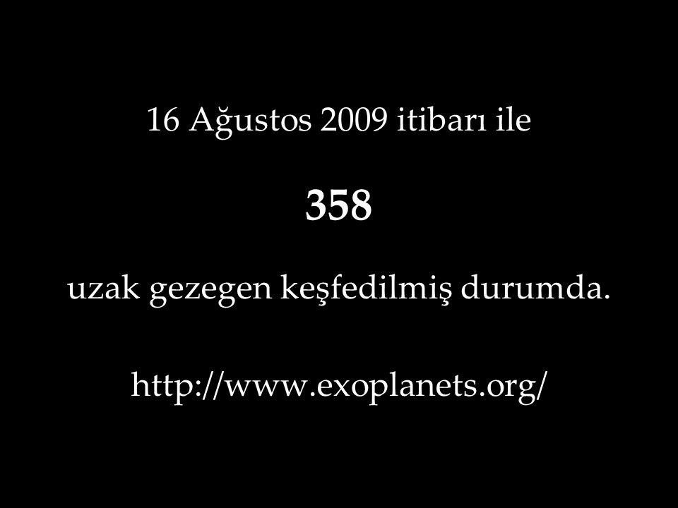 16 Ağustos 2009 itibarı ile 358 uzak gezegen keşfedilmiş durumda. http://www.exoplanets.org/