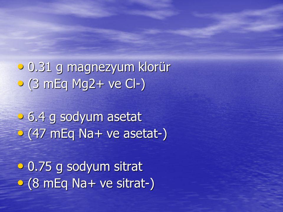 • 0.31 g magnezyum klorür • (3 mEq Mg2+ ve Cl-) • 6.4 g sodyum asetat • (47 mEq Na+ ve asetat-) • 0.75 g sodyum sitrat • (8 mEq Na+ ve sitrat-)
