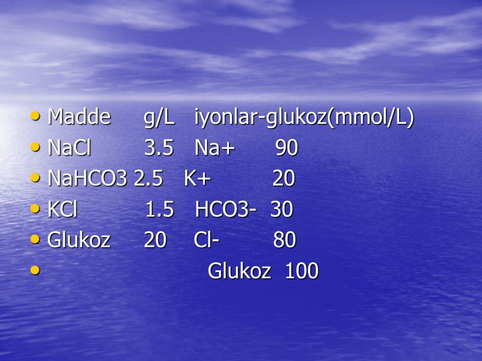 • Madde g/L iyonlar-glukoz(mmol/L) • NaCl 3.5 Na+ 90 • NaHCO3 2.5 K+ 20 • KCl 1.5 HCO3- 30 • Glukoz 20 Cl- 80 • Glukoz 100