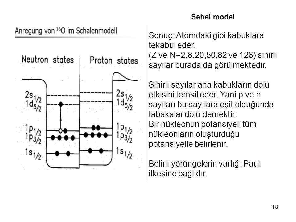 18 Sehel model Sonuç: Atomdaki gibi kabuklara tekabül eder. (Z ve N=2,8,20,50,82 ve 126) sihirli sayılar burada da görülmektedir. Sihirli sayılar ana