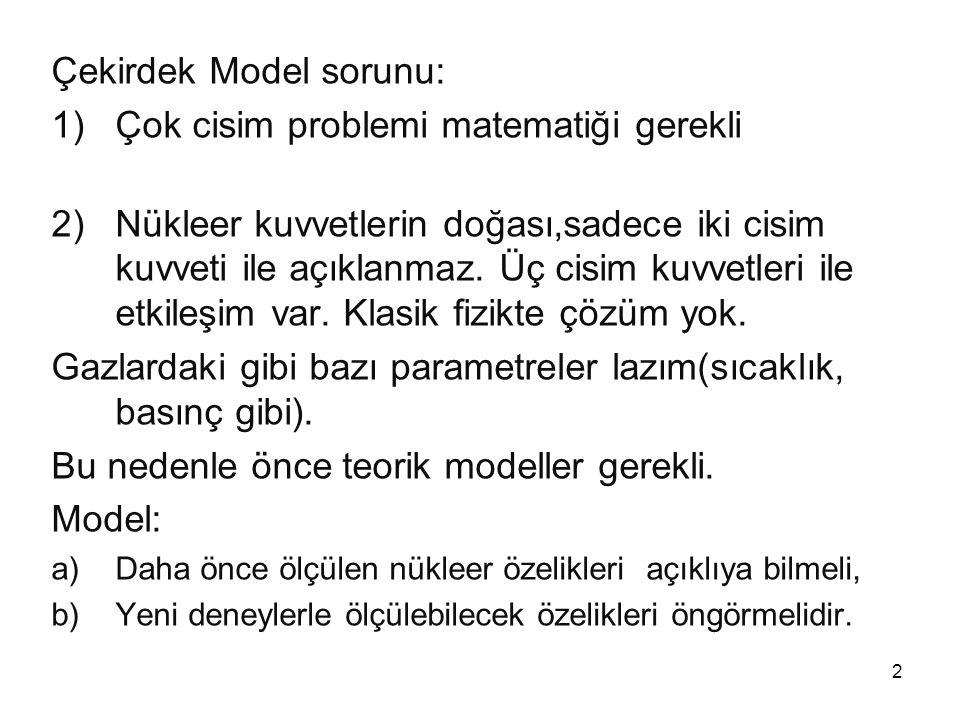 3 KABUK MODELİ Kabuk (shell) modeli önce atom teorisinde kullanılmıştır.
