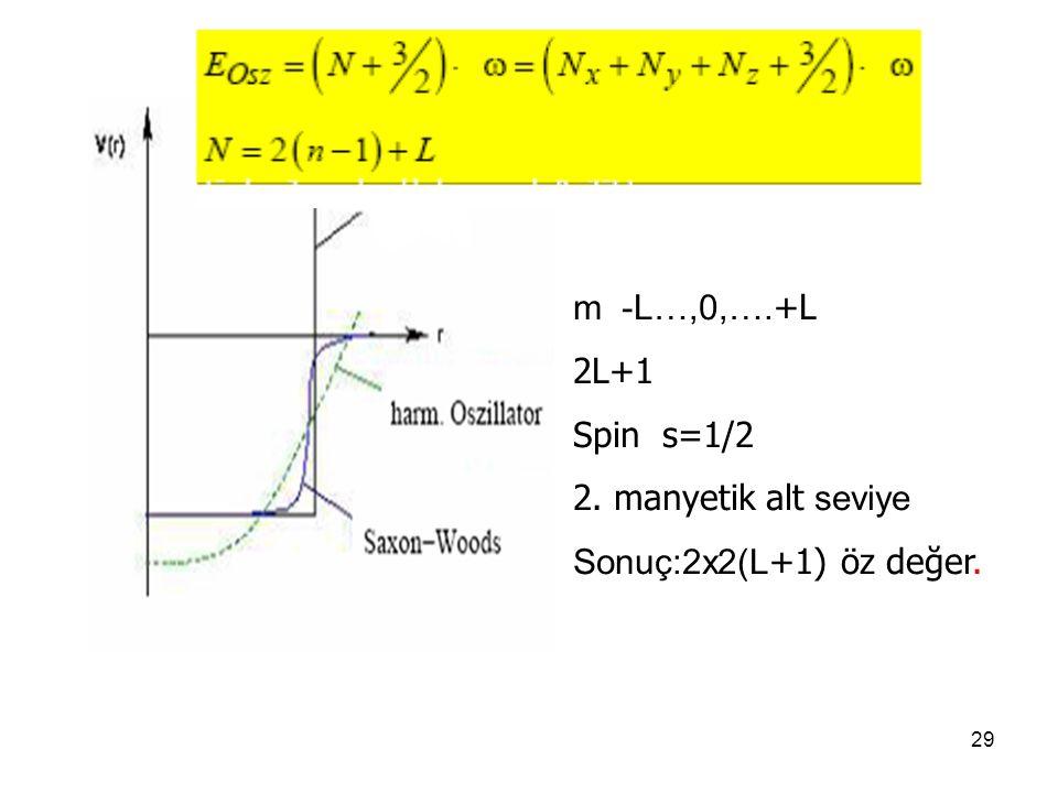 29 m -L…,0,…. +L 2L+1 Spin s=1/2 2. manyetik alt seviye Sonuç:2x2(L +1) öz değer.