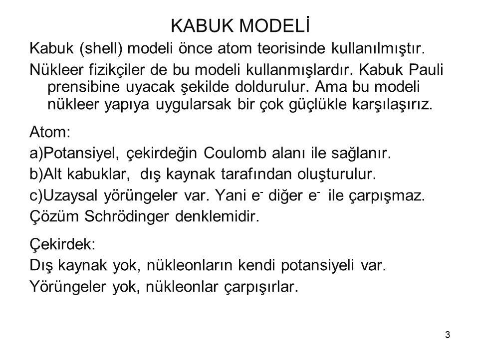 3 KABUK MODELİ Kabuk (shell) modeli önce atom teorisinde kullanılmıştır. Nükleer fizikçiler de bu modeli kullanmışlardır. Kabuk Pauli prensibine uyaca