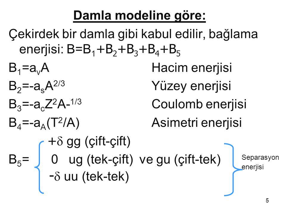 5 Damla modeline göre: Çekirdek bir damla gibi kabul edilir, bağlama enerjisi: B=B 1 +B 2 +B 3 +B 4 +B 5 B 1 =a v AHacim enerjisi B 2 =-a s A 2/3 Yüze