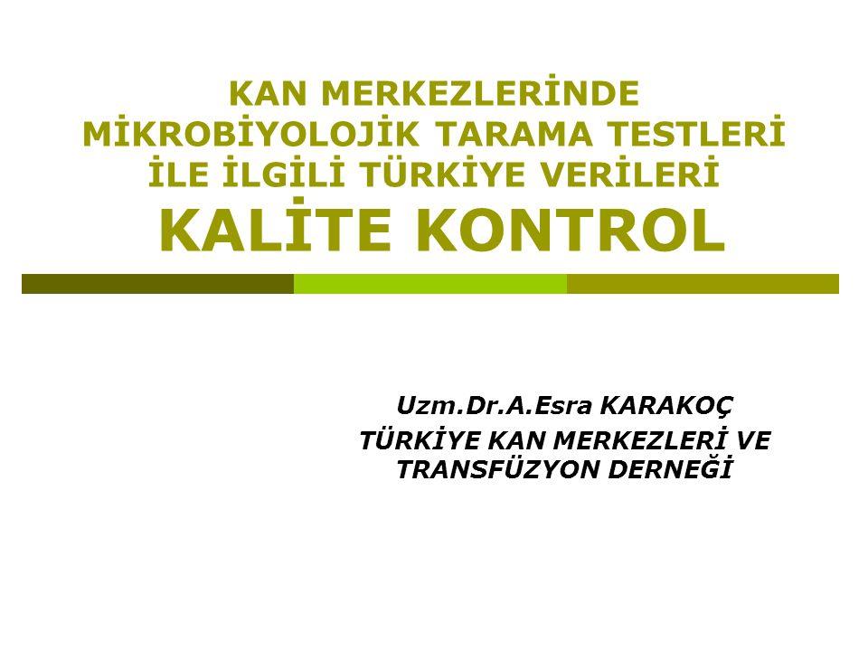TKMTD anket sorularından seçilen kalite göstergeleri Kan merkezinde kalite yönetim sistemi kullanılması Kan merkezinin bağlı olduğu bir dış kalite kontrol programının bulunması Kan bağışçısının seçimi konusunda yazılı prosedür bulunması Kan alma konusunda yazılı prosedür bulunması Kan bileşenlerinin hazırlanması ile ilgili yazılı prosedür bulunması İmmünohematolojik testlerle ilgili yazılı prosedür bulunması Kan istemlerinin her zaman özel bir kan istem formu ile yapılması Her transfüzyon için izleme/takip formu doldurulması Transfüzyon izleme/takip formunun bir nüshasının kan merkezine gönderilmesi Kan merkezinde barkod sistemi kullanılması Sop larSop lar KYS EQA FormForm izlenebilirlik