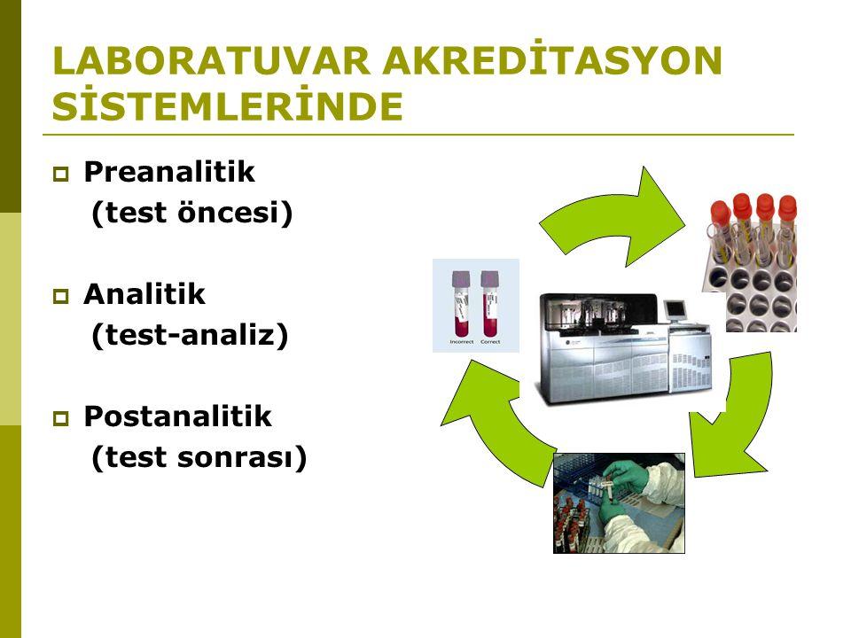 LABORATUVAR AKREDİTASYON SİSTEMLERİNDE  Preanalitik (test öncesi)  Analitik (test-analiz)  Postanalitik (test sonrası)