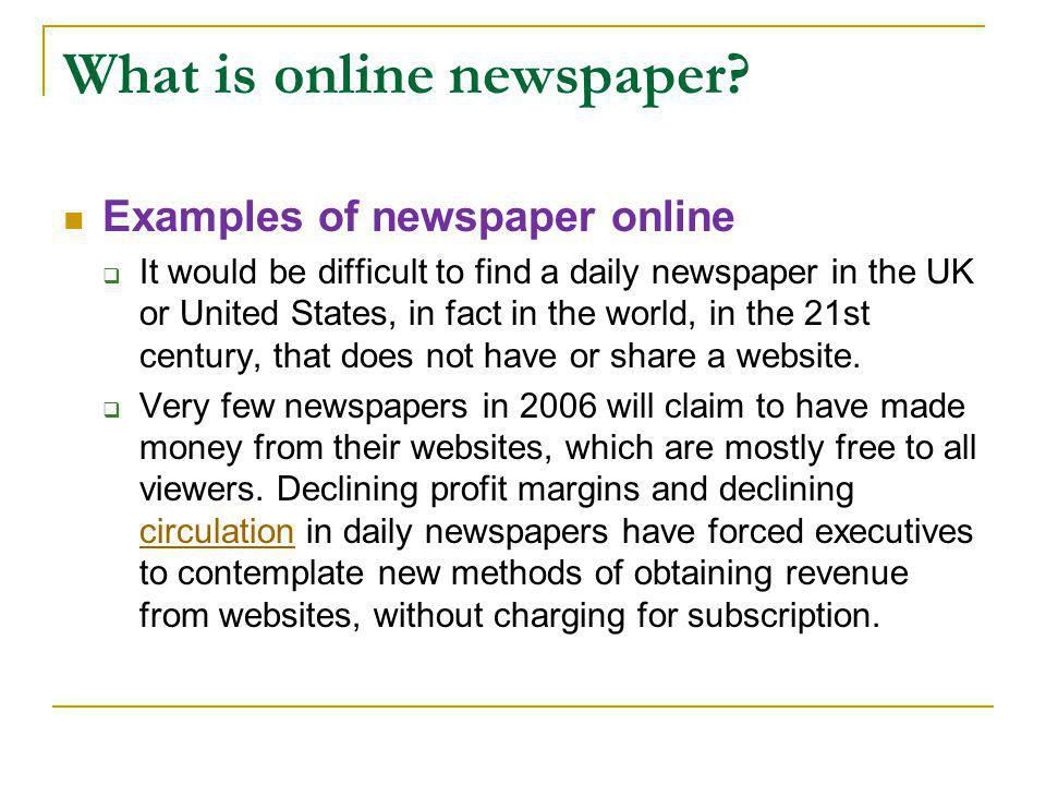 What is online newspaper.