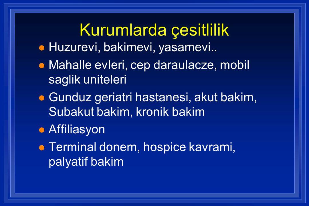 Kurumlarda çesitlilik l Huzurevi, bakimevi, yasamevi.. l Mahalle evleri, cep daraulacze, mobil saglik uniteleri l Gunduz geriatri hastanesi, akut baki