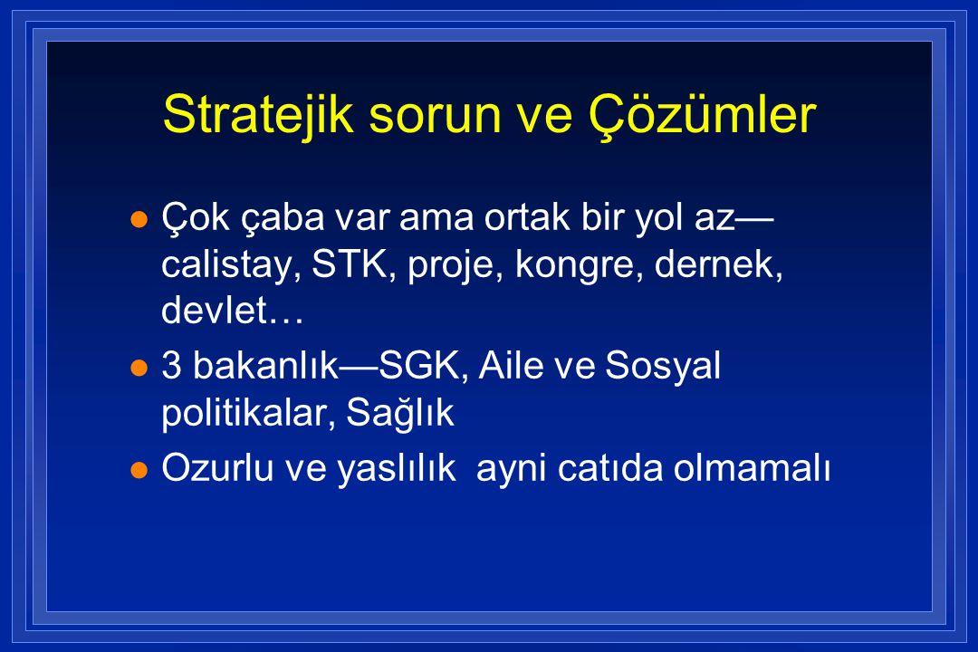 Stratejik sorun ve Çözümler l Çok çaba var ama ortak bir yol az— calistay, STK, proje, kongre, dernek, devlet… l 3 bakanlık—SGK, Aile ve Sosyal politi