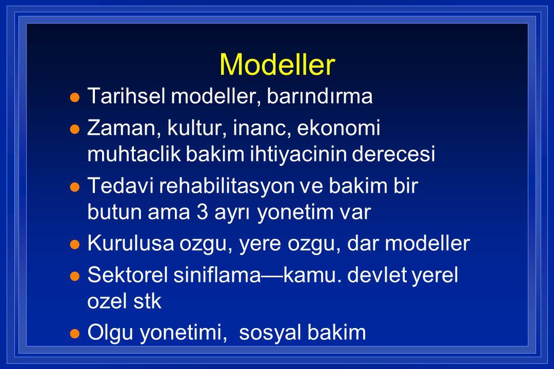Modeller l Tarihsel modeller, barındırma l Zaman, kultur, inanc, ekonomi muhtaclik bakim ihtiyacinin derecesi l Tedavi rehabilitasyon ve bakim bir but