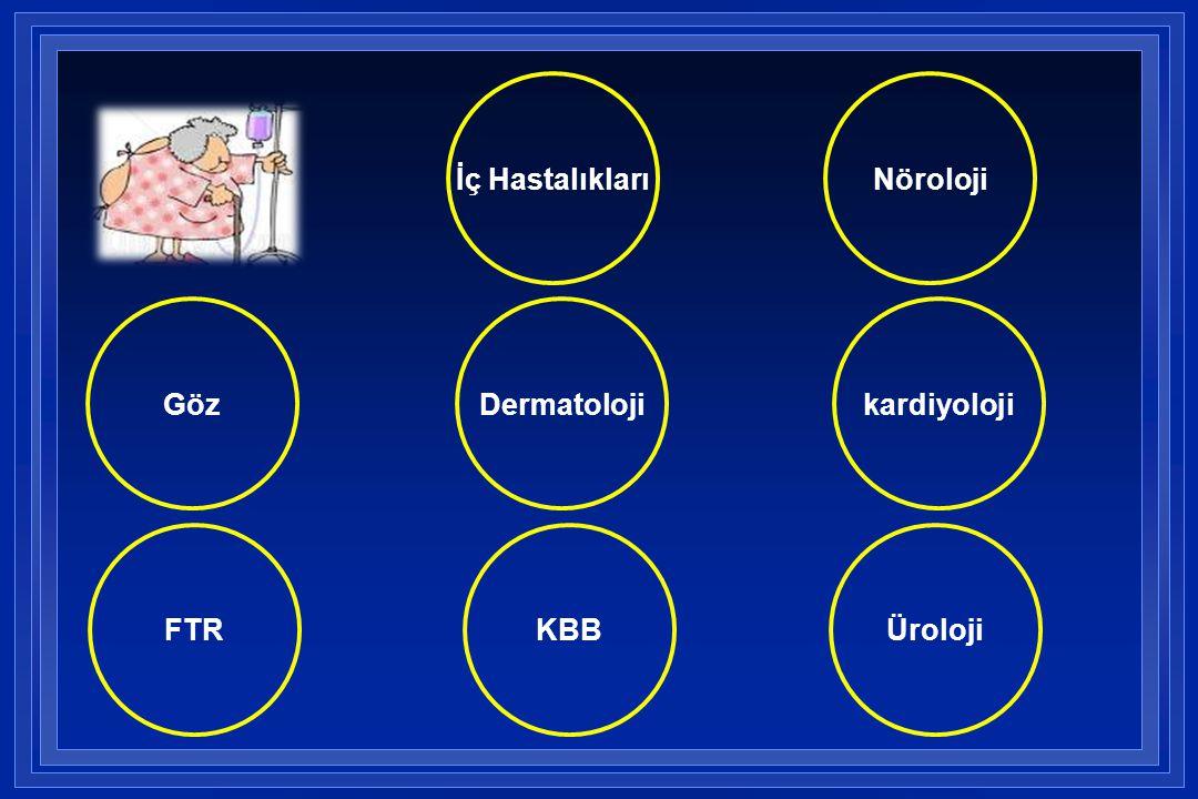 Dermatoloji Üroloji kardiyolojiGöz Nöroloji KBBFTR İç Hastalıkları