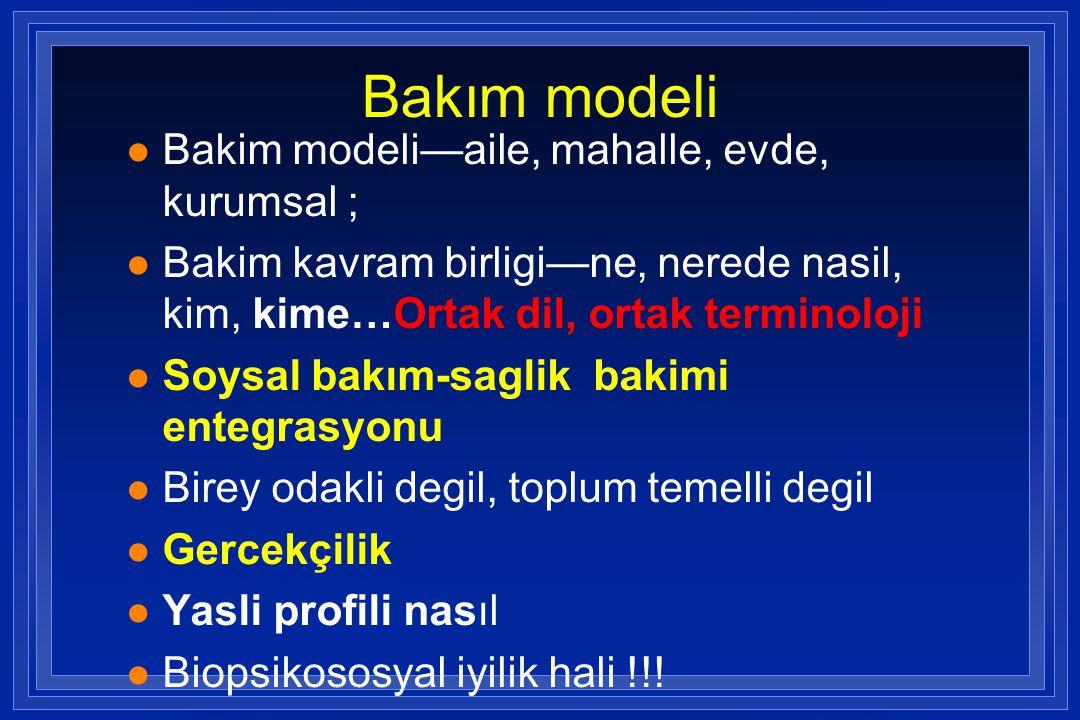 Bakım modeli l Bakim modeli—aile, mahalle, evde, kurumsal ; l Bakim kavram birligi—ne, nerede nasil, kim, kime…Ortak dil, ortak terminoloji l Soysal b