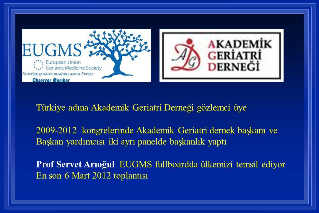 Türkiye adına Akademik Geriatri Derneği gözlemci üye 2009-2012 kongrelerinde Akademik Geriatri dernek başkanı ve Başkan yardımcısı iki ayrı panelde ba