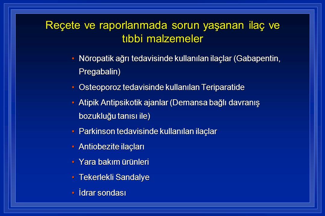 Reçete ve raporlanmada sorun yaşanan ilaç ve tıbbi malzemeler •Nöropatik ağrı tedavisinde kullanılan ilaçlar (Gabapentin, Pregabalin) •Osteoporoz teda