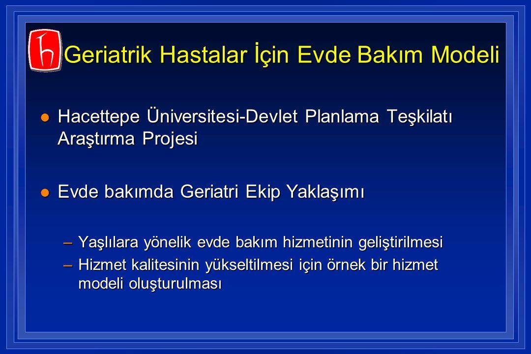 Geriatrik Hastalar İçin Evde Bakım Modeli l Hacettepe Üniversitesi-Devlet Planlama Teşkilatı Araştırma Projesi l Evde bakımda Geriatri Ekip Yaklaşımı