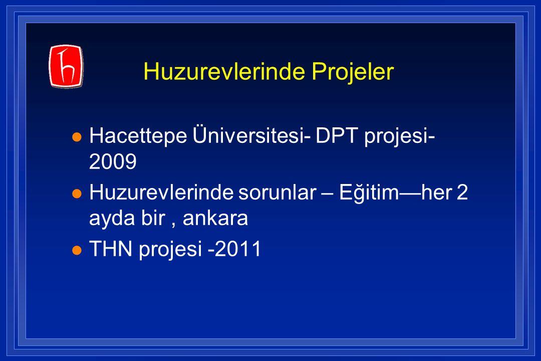 Huzurevlerinde Projeler l Hacettepe Üniversitesi- DPT projesi- 2009 l Huzurevlerinde sorunlar – Eğitim—her 2 ayda bir, ankara l THN projesi -2011