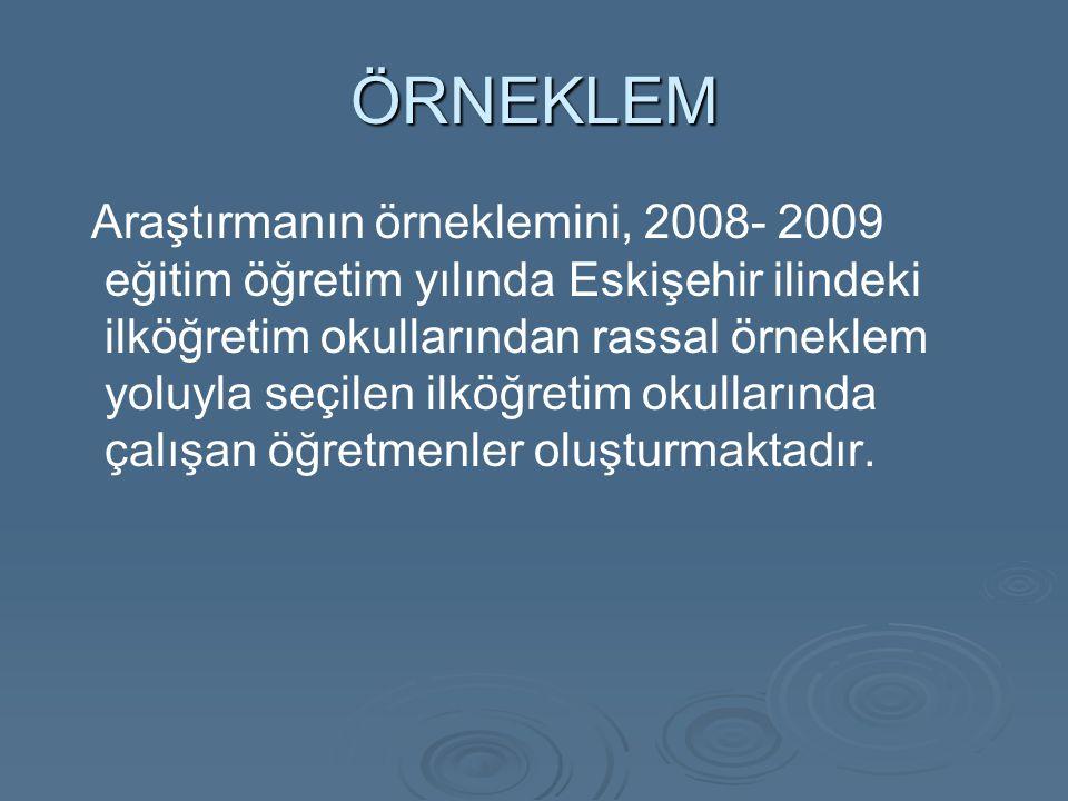 ÖRNEKLEM Araştırmanın örneklemini, 2008- 2009 eğitim öğretim yılında Eskişehir ilindeki ilköğretim okullarından rassal örneklem yoluyla seçilen ilköğretim okullarında çalışan öğretmenler oluşturmaktadır.