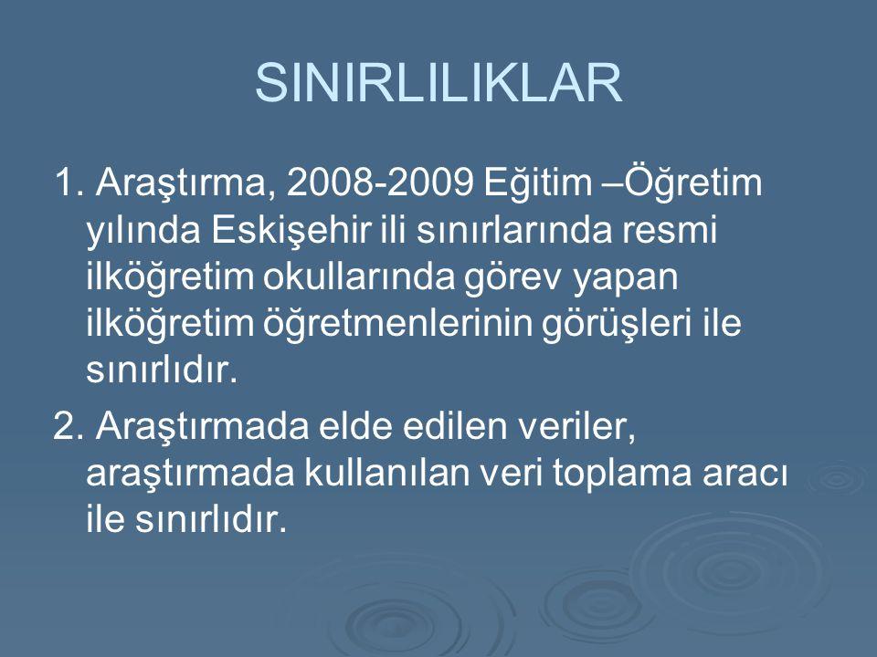SINIRLILIKLAR 1. Araştırma, 2008-2009 Eğitim –Öğretim yılında Eskişehir ili sınırlarında resmi ilköğretim okullarında görev yapan ilköğretim öğretmenl