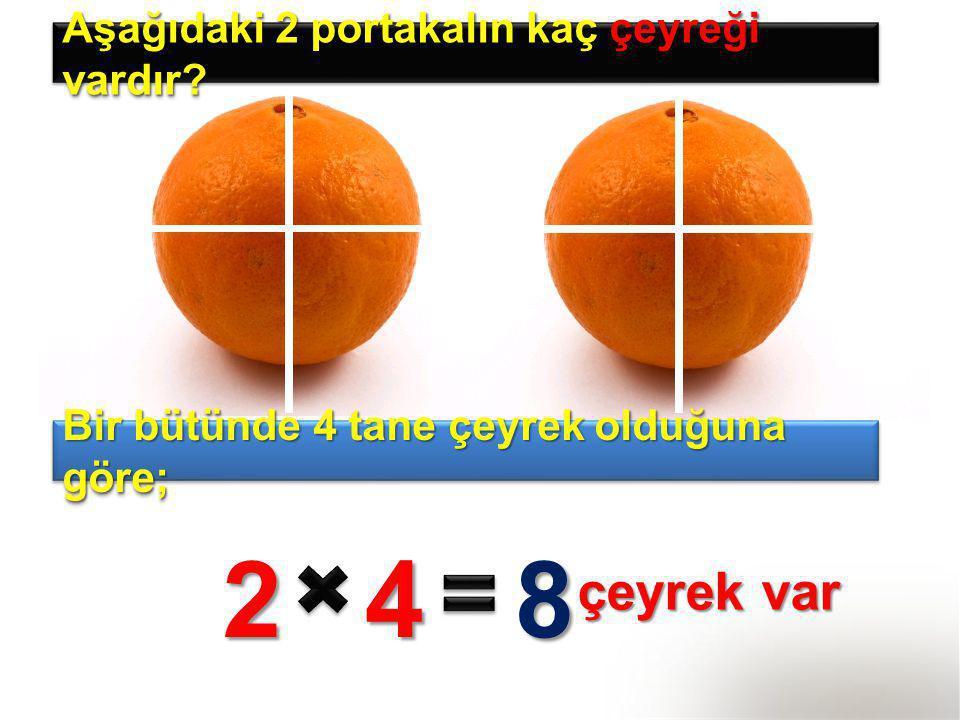 Aşağıdaki 2 portakalın kaç çeyreği vardır? Bir bütünde 4 tane çeyrek olduğuna göre; 248 çeyrek var