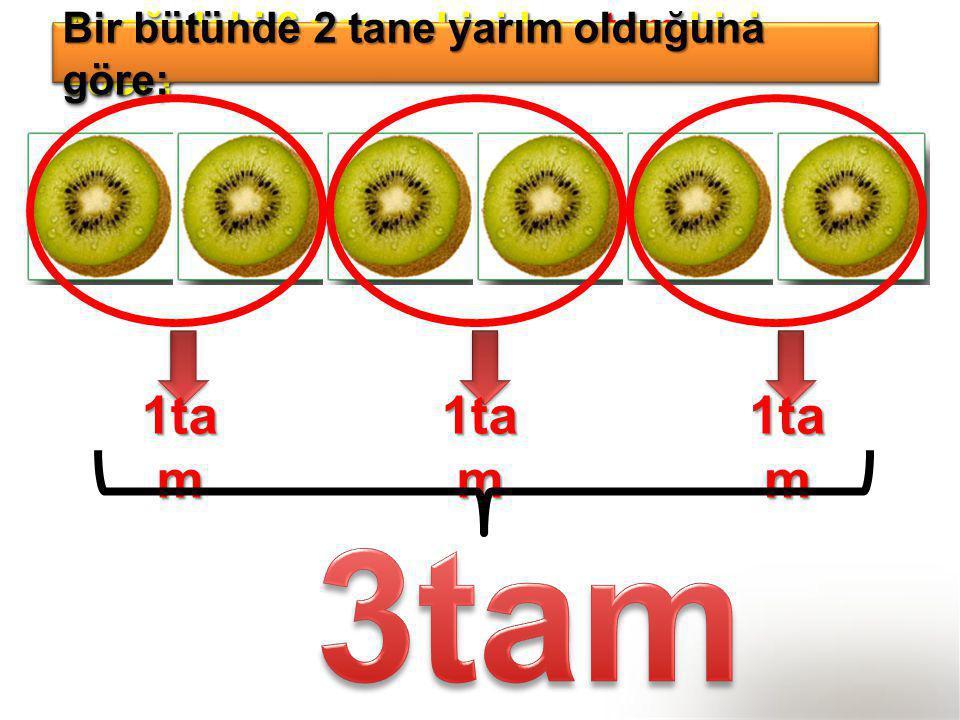 Aşağıdaki 6 yarım kivi kaç tam kivi eder? Bir bütünde 2 tane yarım olduğuna göre; 1ta m